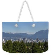 Vancouver Bc City Skyline And Mountains View Weekender Tote Bag