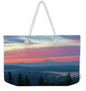 Vancouver Bc Cityscape With Cascade Range Morning View Weekender Tote Bag