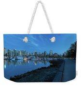 Vancouver Bc Skyline Along Stanley Park Seawall Weekender Tote Bag