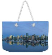 Vancouver Bc Skyline During Blue Hour Panorama Weekender Tote Bag
