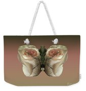 Vanilla Butterfly Rose Weekender Tote Bag