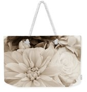 Vase Of Flowers In Sepia Weekender Tote Bag