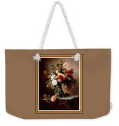 Vase With Roses And Other Flowers L B With Alt. Decorative Ornate Printed Frame. Weekender Tote Bag