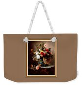 Vase With Roses And Other Flowers L B With Decorative Ornate Printed Frame. Weekender Tote Bag