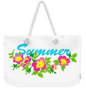 Vector Round Frame Isolated With Summer Flowers In Vintage Style Weekender Tote Bag