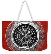 Vegvisir - A Silver Magic Viking Runic Compass On Red Leather  Weekender Tote Bag
