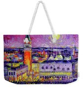 Venice Night View Modern Textural Impressionist Stylized Cityscape Weekender Tote Bag