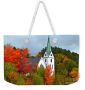 Vermont Church In Autumn Weekender Tote Bag by Catherine Sherman