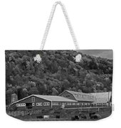 Vermont Farm With Cows Autumn Fall Black And White Weekender Tote Bag
