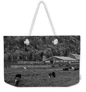 Vermont Farm With Cows Black And White Weekender Tote Bag