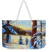 Vermont Log Cabin Maple Syrup Time Weekender Tote Bag