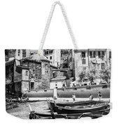 Vernazza Boats And Church Cinque Terre Italy Bw Weekender Tote Bag