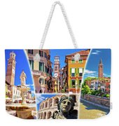 Verona Colorful Tourist Landmarks Postcard  Weekender Tote Bag