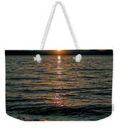 Vertical Sunset Lake Weekender Tote Bag