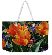 Very Pretty Colorful Yellow And Red Striped Tulip Weekender Tote Bag