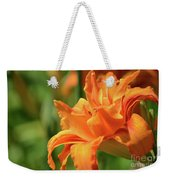 Very Pretty Double Orange Daylily Flowering In A Garden Weekender Tote Bag