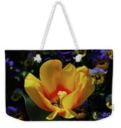 Very Pretty Flowering Yellow Tulip With A Red Center Weekender Tote Bag