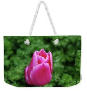 Very Pretty Garden With A Dark Pink Tulip Weekender Tote Bag
