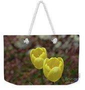 Very Pretty Pair Of Flowering Yellow Tulip Blossoms Weekender Tote Bag