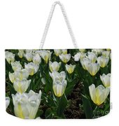 Very Pretty Spring Garden With Flowering White Tulips Weekender Tote Bag