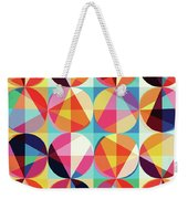 Vibrant Geometric Abstract Triangles Circles Squares Weekender Tote Bag