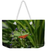 Vibrant Oak Tiger Butterfly Surrounded By Blue Flowers Weekender Tote Bag