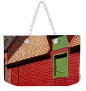 Vibrant Red And Green Building Weekender Tote Bag