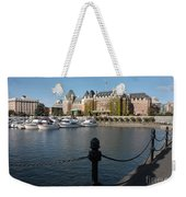 Victoria Harbour With Railing Weekender Tote Bag by Carol Groenen