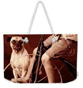 Victorian Boy With Pug Dog And Tricycle Circa 1900 Weekender Tote Bag