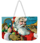 Victorian Illustration Of Santa Claus Holding Toys And Blowing On A Trumpet Weekender Tote Bag
