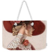 Victorian Lady In A Rose Hat Weekender Tote Bag