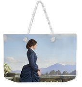 Victorian Woman In A Blue Dress Standing On The Terrace  Weekender Tote Bag