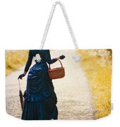 Victorian Woman With A Wicker Shopping Basket Weekender Tote Bag