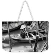Vietnamese Woman Boat Ores Really For Tourist Mekong Delta  Weekender Tote Bag