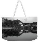 View Across Lake Bled In Black And White Weekender Tote Bag