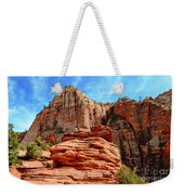 View From Canyon Overlook In Zion National Park Weekender Tote Bag