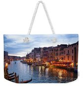 View From Rialto Bridge Of Venice By Night. Weekender Tote Bag