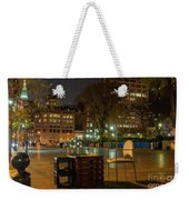 View Of Chess Board In The Middle Of Busy Sidewalk At Night Weekender Tote Bag