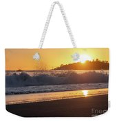 View Of Large Fishing Boat From The Beach At Sunset Weekender Tote Bag