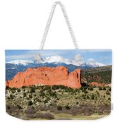 View Of Pikes Peak And Garden Of The Gods Park In Colorado Springs In Th Weekender Tote Bag