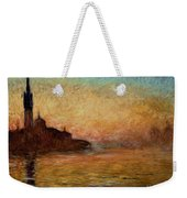 View Of San Giorgio Maggiore Venice By Twilight Weekender Tote Bag by Claude Monet