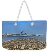 View Of The Battleship New Jersey From Philadelphia Weekender Tote Bag