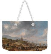 View Of The Beach At Scheveling Weekender Tote Bag