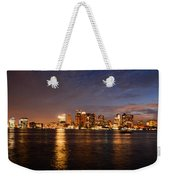View Of The Boston Waterfront At Night Weekender Tote Bag