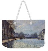 View Of The Canal Saint-martin Paris Weekender Tote Bag