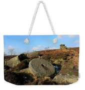 View Of The Mother Cap Gritstone Rock Formation, Millstone Edge Weekender Tote Bag