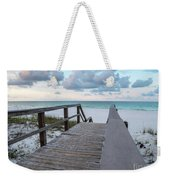 View Of White Sand And Blue Ocean From Wooden Boardwalk Weekender Tote Bag