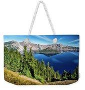 View Of Wizard Island Crater Lake Weekender Tote Bag