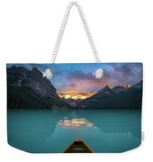 Viewing Snowy Mountain In Rising Sun From A Canoe Weekender Tote Bag