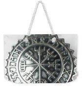 Viking Vegvisir Rune Calendar Sterling Silver Pendant Weekender Tote Bag
